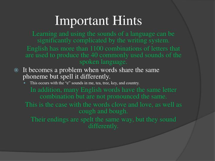 Important Hints