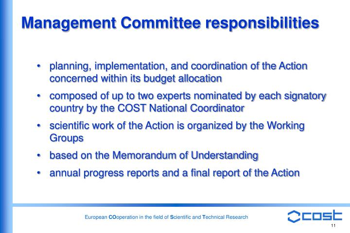 Management Committee responsibilities