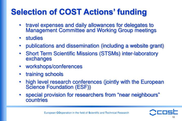 Selection of COST Actions' funding