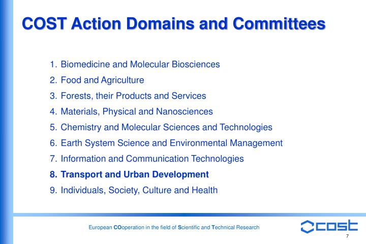 COST Action Domains and Committees