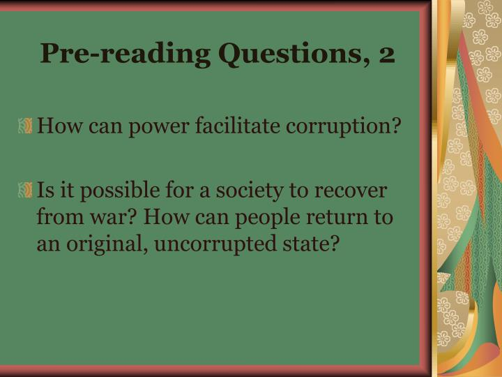 Pre-reading Questions, 2