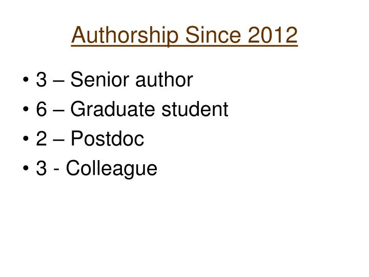 Authorship Since 2012