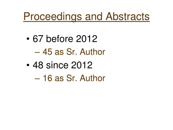 Proceedings and Abstracts