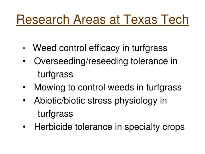 Research Areas at Texas Tech