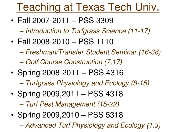 Teaching at texas tech univ