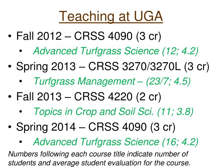 Teaching at UGA