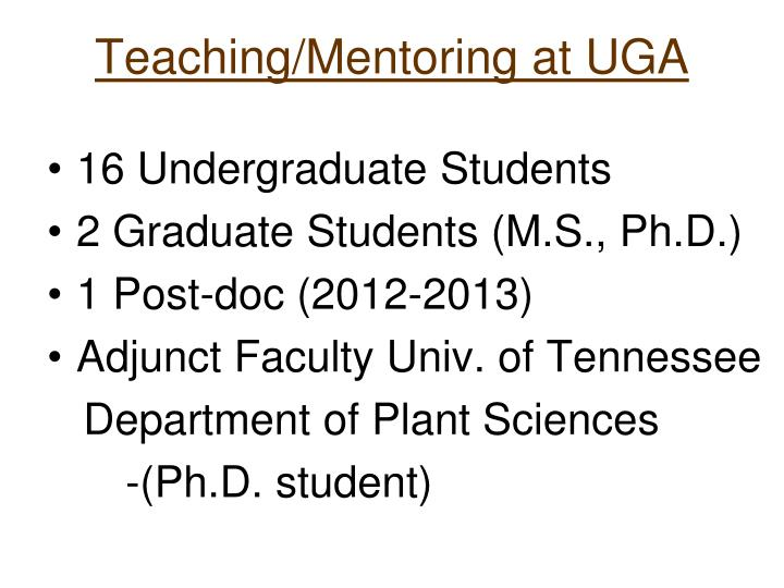 Teaching/Mentoring at UGA