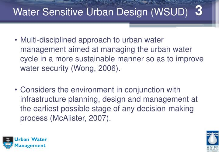 Water sensitive urban design wsud