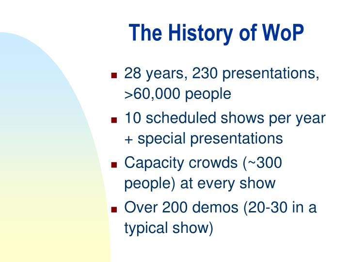 The History of WoP