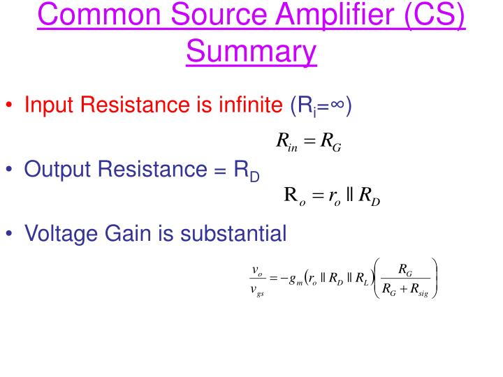 Common Source Amplifier (CS) Summary