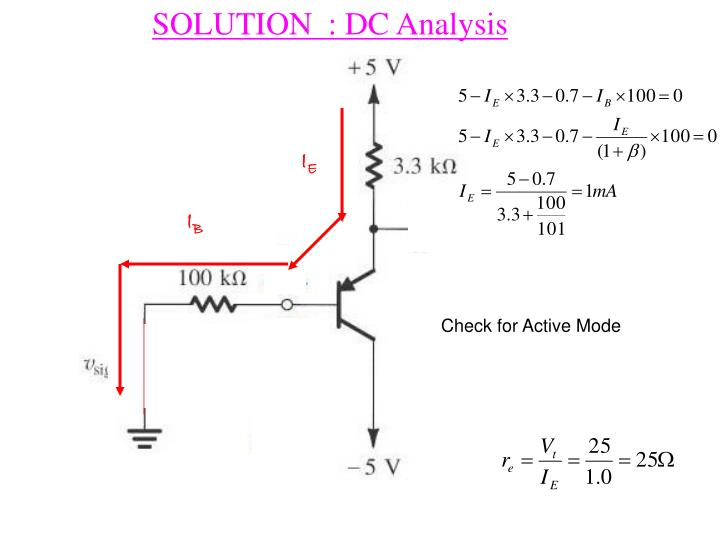 SOLUTION  : DC Analysis