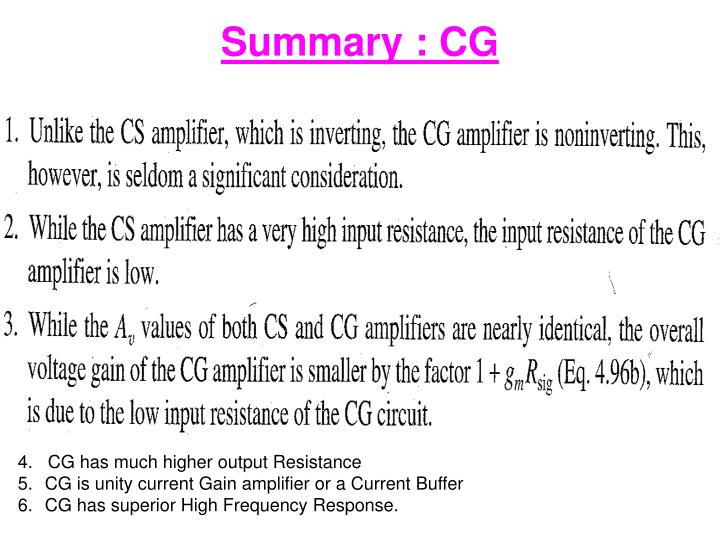 Summary : CG