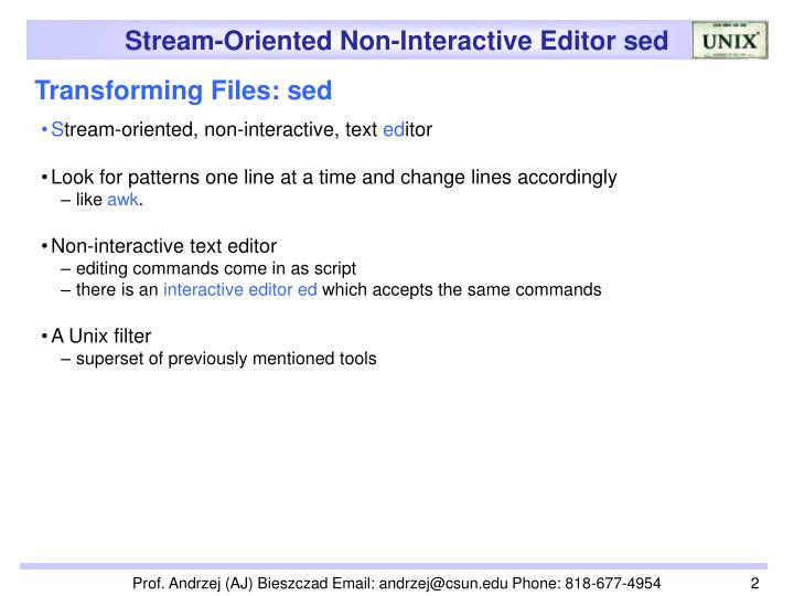 Transforming Files: sed