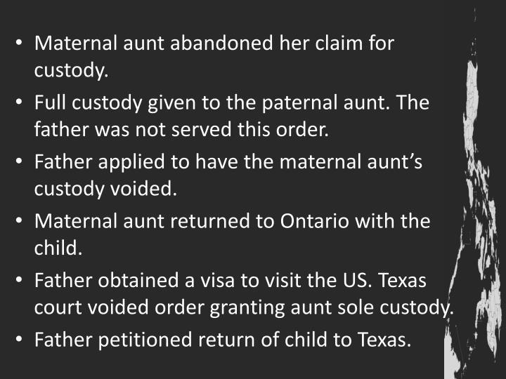 Maternal aunt abandoned her claim for custody.