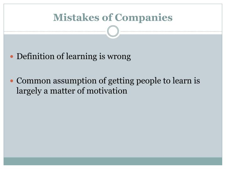 Mistakes of Companies