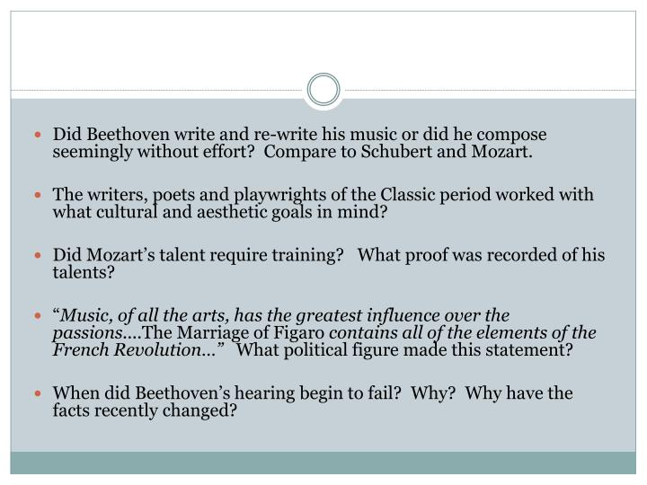 Did Beethoven write and re-write his music or did he compose seemingly without effort?  Compare to Schubert and Mozart.