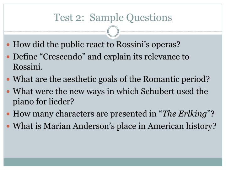 Test 2:  Sample Questions