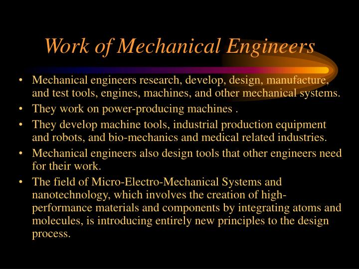 Work of mechanical engineers