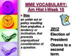 mme vocabulary am hist i week 101