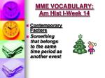 mme vocabulary am hist i week 144