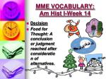 mme vocabulary am hist i week 145