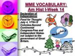 mme vocabulary am hist i week 146