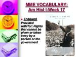 mme vocabulary am hist i week 176