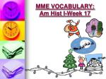 mme vocabulary am hist i week 177