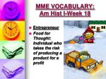 mme vocabulary am hist i week 181