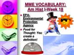 mme vocabulary am hist i week 182