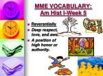 mme vocabulary am hist i week 52