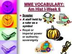 mme vocabulary am hist i week 62