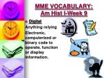 mme vocabulary am hist i week 91