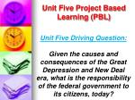 unit five project based learning pbl