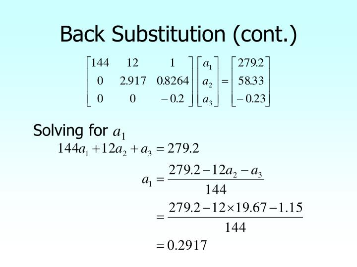 Back Substitution (cont.)
