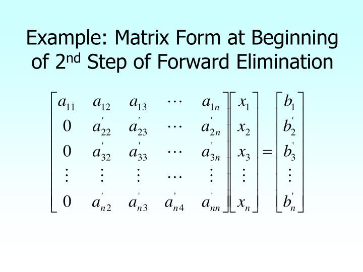 Example: Matrix Form at Beginning of 2