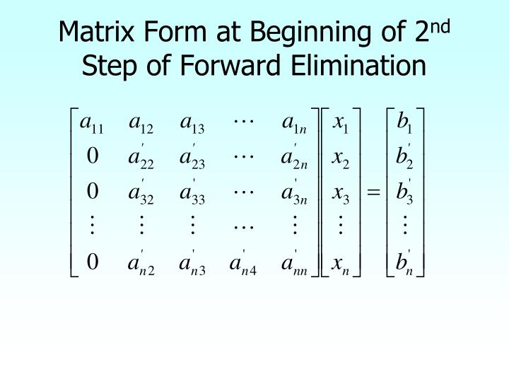 Matrix Form at Beginning of 2