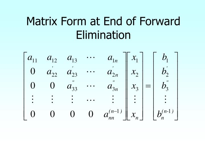 Matrix Form at End of Forward Elimination