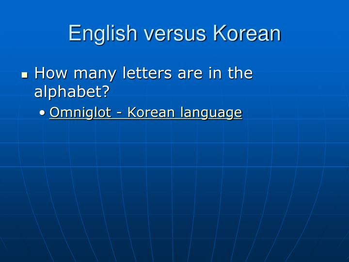 English versus Korean