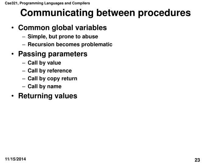 Communicating between procedures