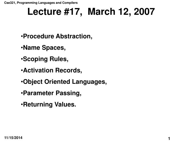 Lecture 17 march 12 2007