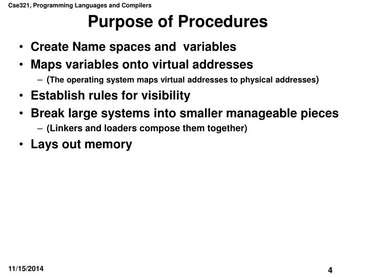 Purpose of Procedures
