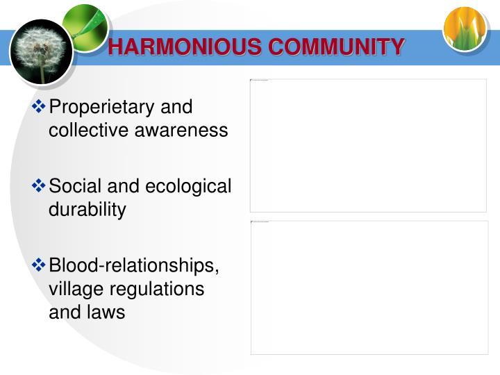 HARMONIOUS COMMUNITY