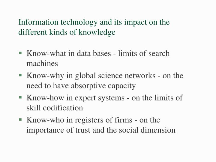 Information technology and its impact on the different kinds of knowledge