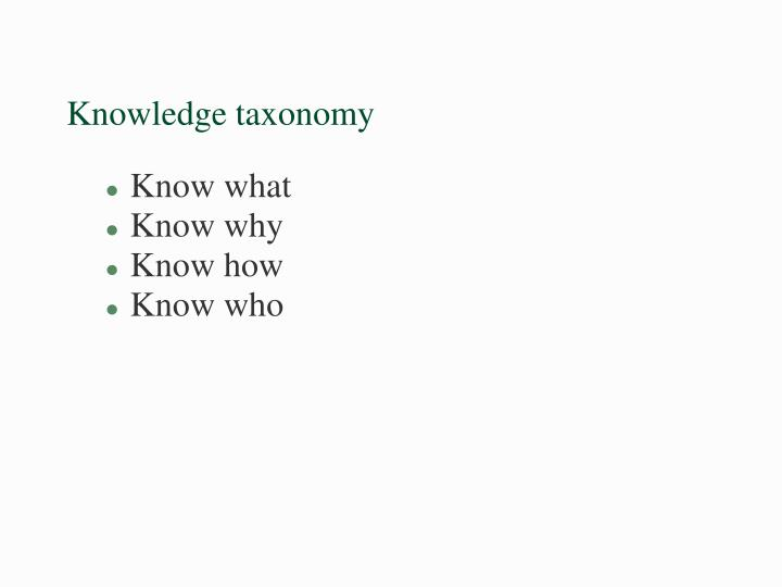 Knowledge taxonomy