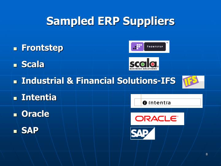 Sampled ERP Suppliers