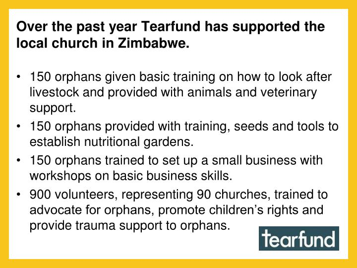 Over the past year Tearfund has supported the local church in Zimbabwe.