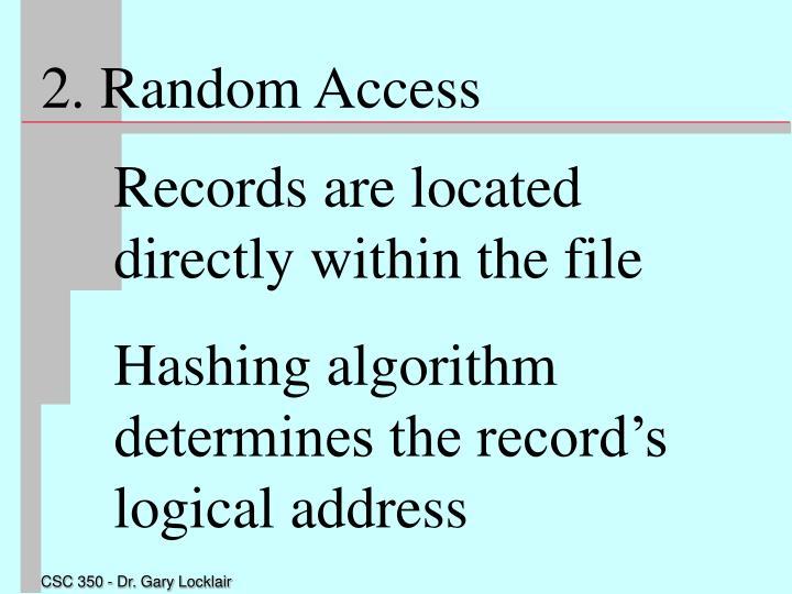 2. Random Access