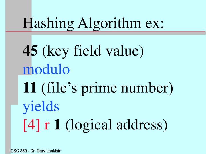 Hashing Algorithm ex: