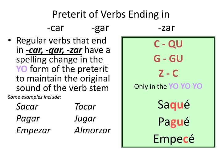 Regular verbs that end in